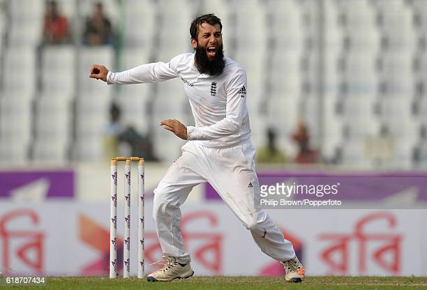 Moeen Ali appeals during the second test match between Bangladesh and England at Shere Bangla National Stadium on October 28 2016 in Dhaka Bangladesh