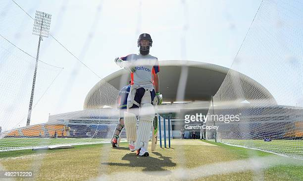 Moeen Ali of England bats during a nets session at Zayed Cricket Stadium on October 11 2015 in Abu Dhabi United Arab Emirates