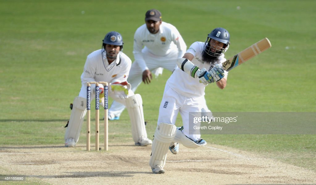 <a gi-track='captionPersonalityLinkClicked' href=/galleries/search?phrase=Moeen+Ali&family=editorial&specificpeople=571813 ng-click='$event.stopPropagation()'>Moeen Ali</a> of England bats during day five of 2nd Investec Test match between England and Sri Lanka at Headingley Cricket Ground on June 24, 2014 in Leeds, England.