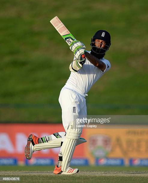 Moeen Ali of England bats during day five of the 1st Test between Pakistan and England at Zayed Cricket Stadium on October 17 2015 in Abu Dhabi...