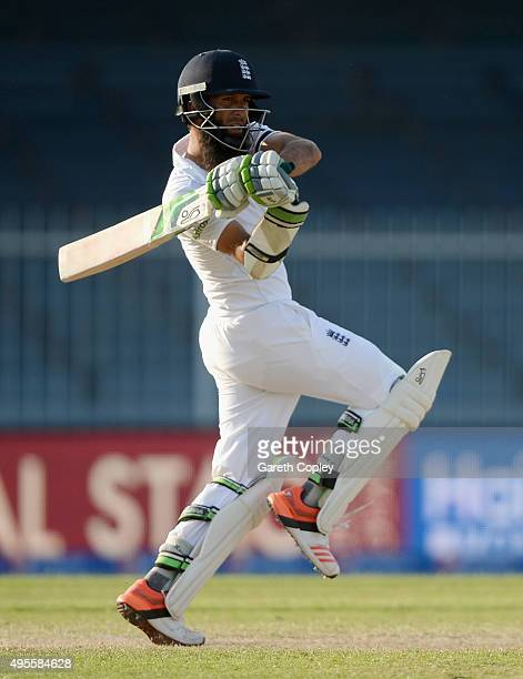 Moeen Ali of England bats during day four of the 3rd Test between Pakistan and England at Sharjah Cricket Stadium on November 4 2015 in Sharjah...