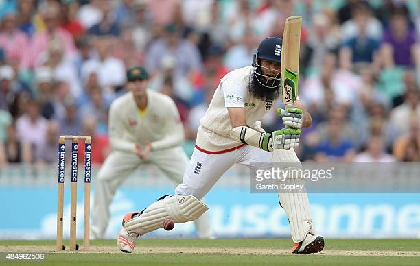 Moeen Ali of England bats during day four of the 5th Investec Ashes Test match between England and Australia at The Kia Oval on August 23 2015 in...