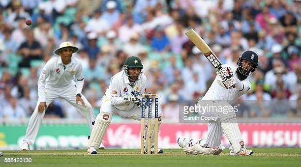 Moeen Ali of England bats during day one of the 4th Investec Test between England and Pakistan at The Kia Oval on August 11 2016 in London England