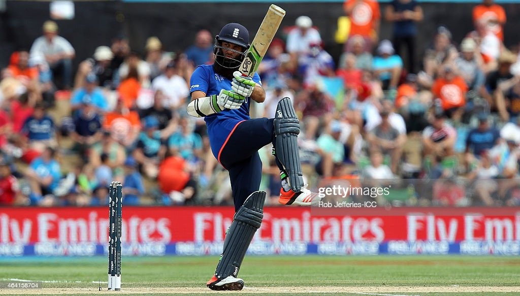 Moeen Ali of England bats during the 2015 ICC Cricket World Cup match between England and Scotland at Hagley Oval on February 23 2015 in Christchurch...