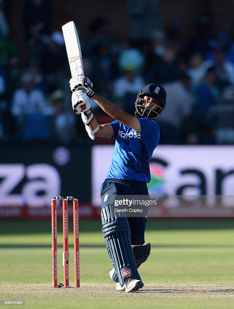 Moeen Ali of England bats during the 2nd Momentum ODI between South Africa and England at St George's Park on February 6 2016 in Port Elizabeth South...