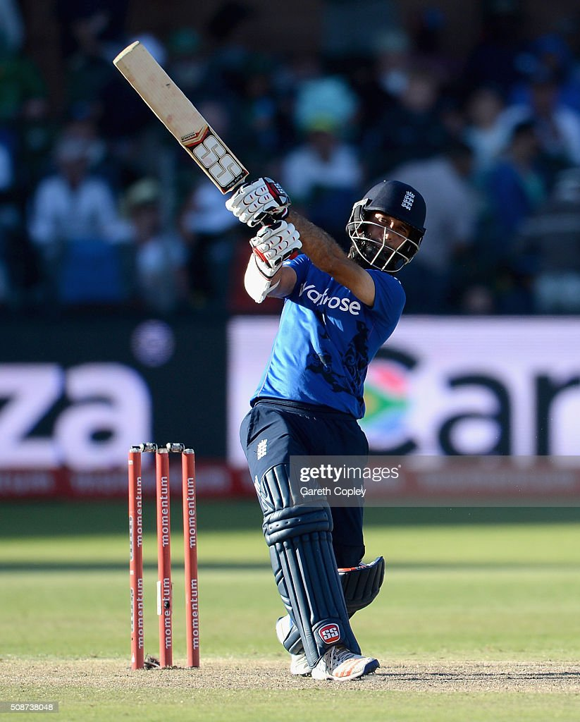 <a gi-track='captionPersonalityLinkClicked' href=/galleries/search?phrase=Moeen+Ali&family=editorial&specificpeople=571813 ng-click='$event.stopPropagation()'>Moeen Ali</a> of England bats during the 2nd Momentum ODI between South Africa and England at St George's Park on February 6, 2016 in Port Elizabeth, South Africa.
