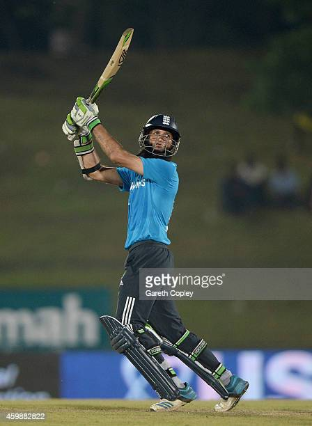 Moeen Ali of England bats during the 3rd One Day International between Sri Lanka and England at Mahinda Rajapaksa International Stadium on December 3...