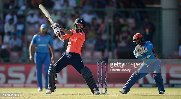 Moeen Ali of England bats during the ICC World Twenty20 India 2016 Group 1 match between England and Afghanistan at Feroz Shah Kotla Ground on March...