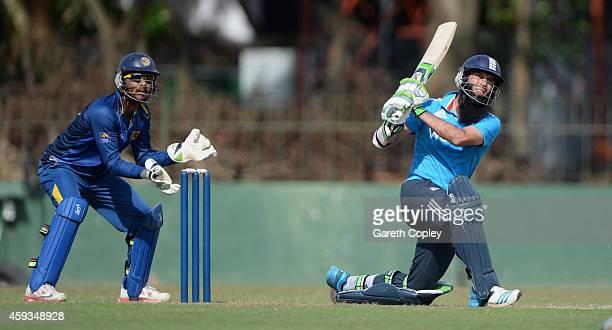 Moeen Ali of England bats during the tour match between between Sri Lanka A and England at Sinhalese Sports Club on November 21 2014 in Colombo Sri...