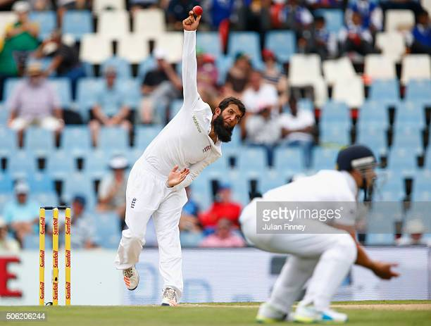 Moeen Ali of England bowls during day one of the 4th Test at Supersport Park on January 22 2016 in Centurion South Africa