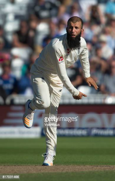 Moeen Ali of England bowls during the third day of the second test between England and South Africa at Trent Bridge on July 16 2017 in Nottingham...