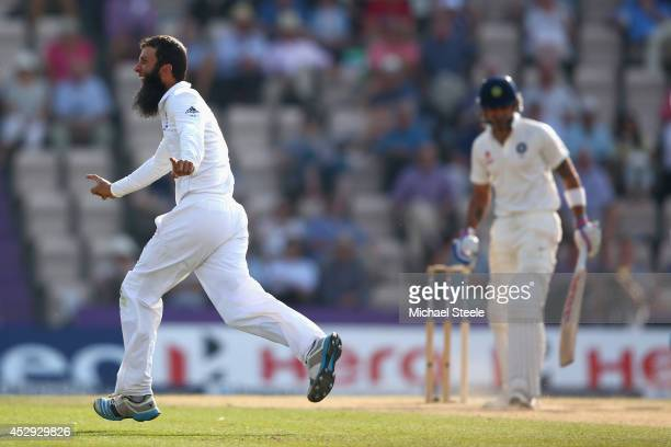 Moeen Ali of England celebrates capturing the wicket of Virat Kohli of India during day four of the 3rd Investec Test match between England and India...