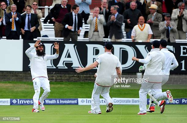 Moeen Ali of England celebrates catching Trent Boult of New Zealand to win the match during day five of the 1st Investec Test Match between England...