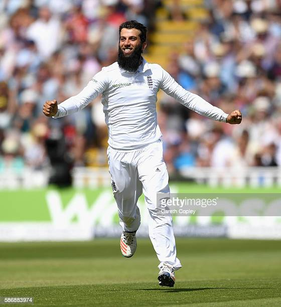 Moeen Ali of England celebrates dismissing Azhar Ali of Pakistan during day five of the 3rd Investec Test between England and Pakistan at Edgbaston...