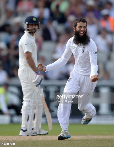 Moeen Ali of England celebrates dismissing Cheteshwar Pujara of India during day three of 4th Investec Test match between England and India at Old...