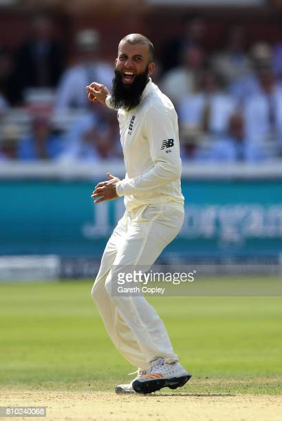 Moeen Ali of England celebrates dismissing Hashim Amla of South Africa during day two of the 1st Investec Test between England and South Africa at...