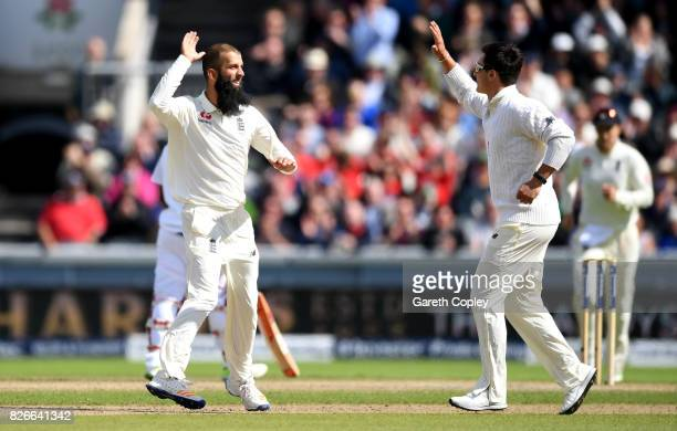 Moeen Ali of England celebrates dismissing Heino Kuhn of South Africa during day two of the 4th Investec Test between England and South Africa at Old...