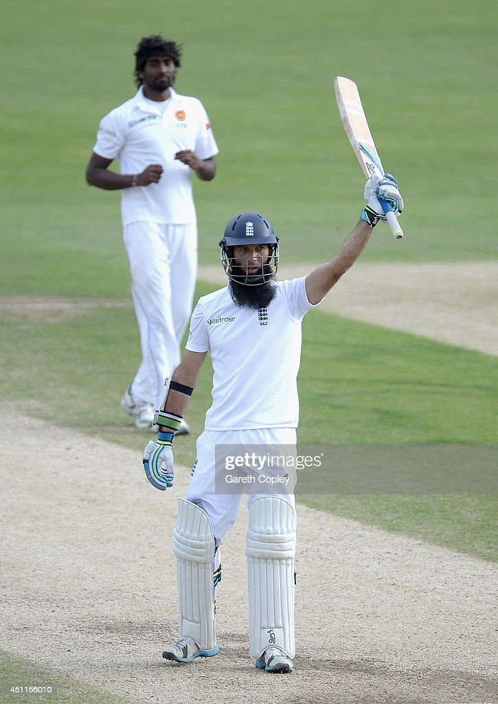 <a gi-track='captionPersonalityLinkClicked' href=/galleries/search?phrase=Moeen+Ali&family=editorial&specificpeople=571813 ng-click='$event.stopPropagation()'>Moeen Ali</a> of England celebrates reaching his century during day five of 2nd Investec Test match between England and Sri Lanka at Headingley Cricket Ground on June 24, 2014 in Leeds, England.