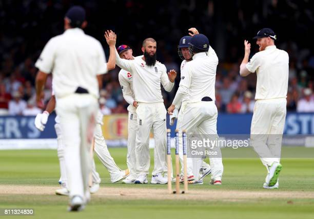 Moeen Ali of England celebrates the wicket of Temba Bavuma of South Africa on day four of the 1st Investec Test match between England and South...