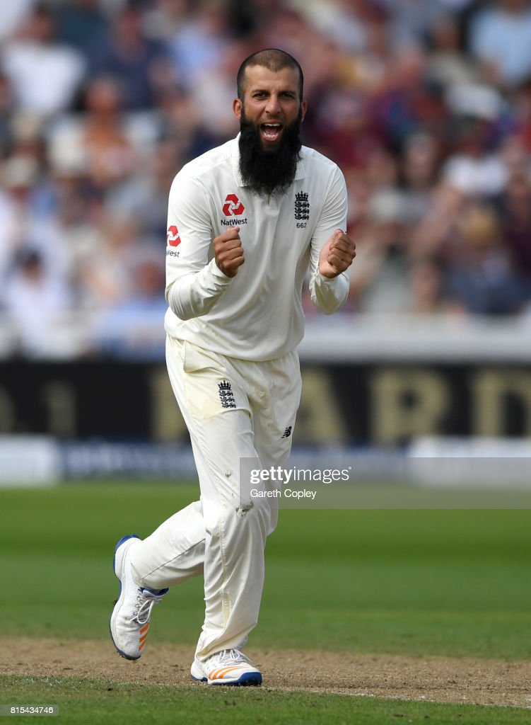 Moeen Ali of England celebrates the wicket of Temba Bavuma of South Africa during day three of the 2nd Investec Test match between England and South Africa at Trent Bridge on July 16, 2017 in Nottingham, England.