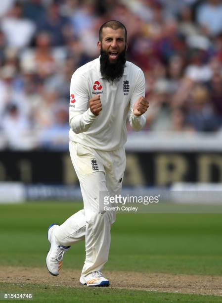 Moeen Ali of England celebrates the wicket of Temba Bavuma of South Africa during day three of the 2nd Investec Test match between England and South...