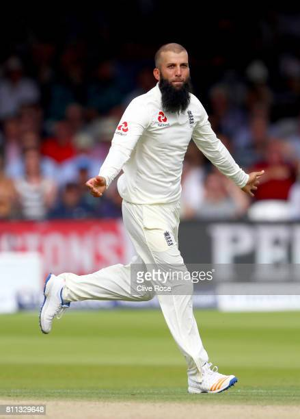 Moeen Ali of England celebrates the wicket of Theunis de Bruyn of South Africa on day four of the 1st Investec Test match between England and South...