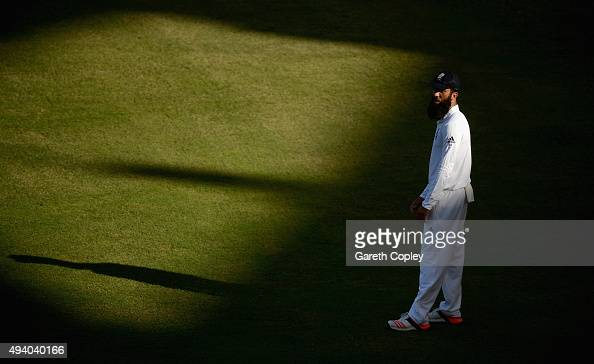 Moeen Ali of England during day three of the 2nd test match between Pakistan and England at Dubai Cricket Stadium on October 24 2015 in Dubai United...