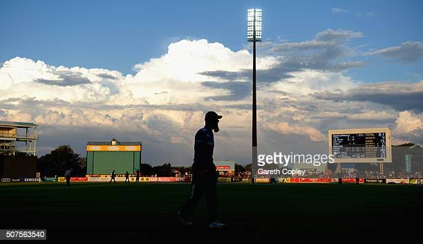 Moeen Ali of England fields on the boundary during the One Day Tour Match between South Africa A and England at the Diamond Oval on January 30 2016...