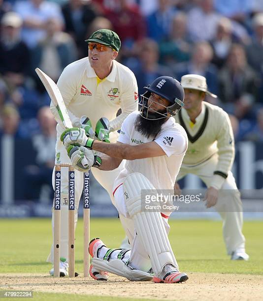 Moeen Ali of England hits out for six runs during day one of the 1st Investec Ashes Test match between England and Australia at SWALEC Stadium on...