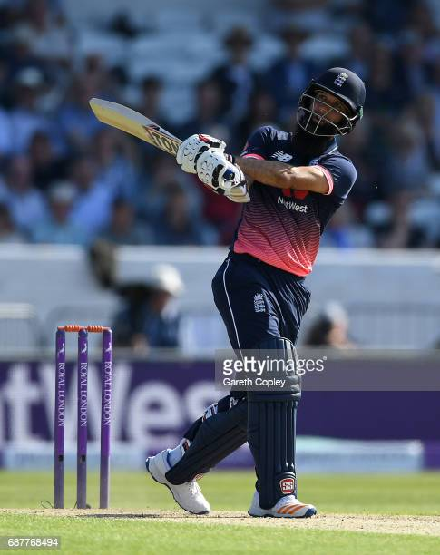 Moeen Ali of England hits out for six runs during the 1st Royal London ODI match between England and South Africa at Headingley on May 24 2017 in...