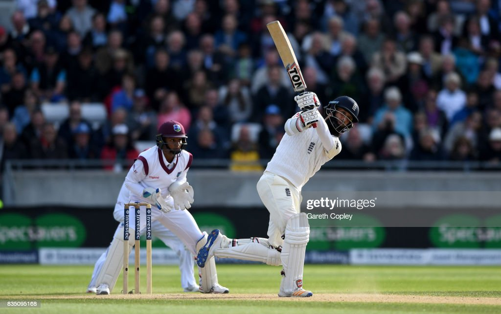 Moeen Ali of England hits out to be caught out by Kraigg Brathwaite of the West Indies during day two of the 1st Investec Test match between England and West Indies at Edgbaston on August 18, 2017 in Birmingham, England.