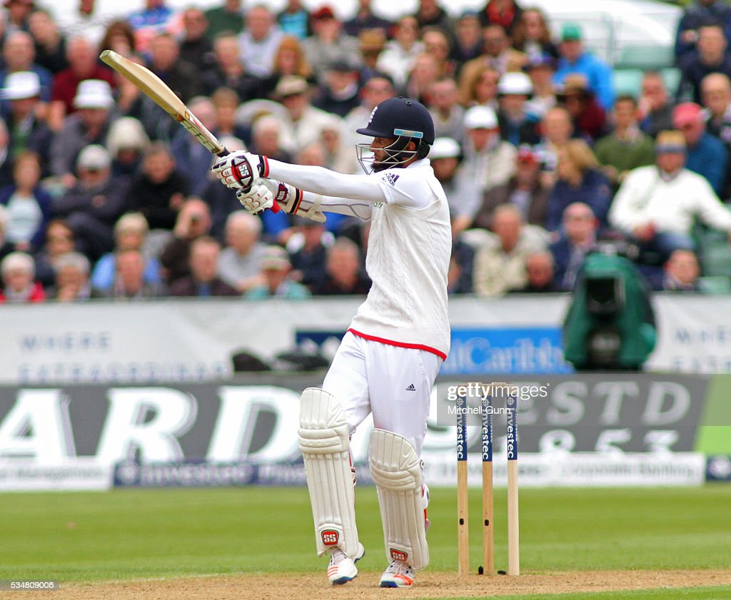 <a gi-track='captionPersonalityLinkClicked' href=/galleries/search?phrase=Moeen+Ali&family=editorial&specificpeople=571813 ng-click='$event.stopPropagation()'>Moeen Ali</a> of England hits the ball for four runs during day two of the 2nd Investec Test match between England and Sri Lanka at Emirates Durham ICG on May 28, 2016 in Chester-le-Street, United Kingdom.
