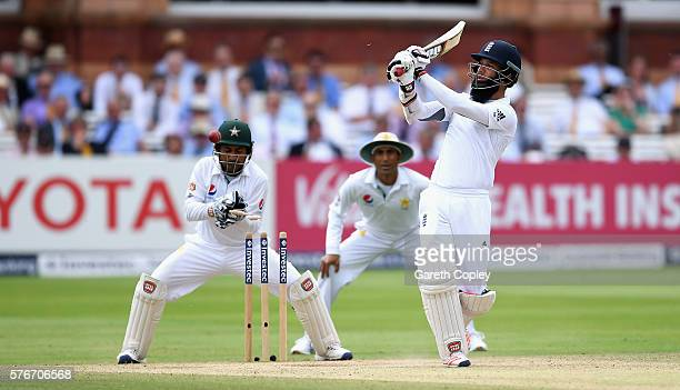 Moeen Ali of England is bowled by Yasir Shah of Pakistan during day four of the 1st Investec Test between England and Pakistan at Lord's Cricket...