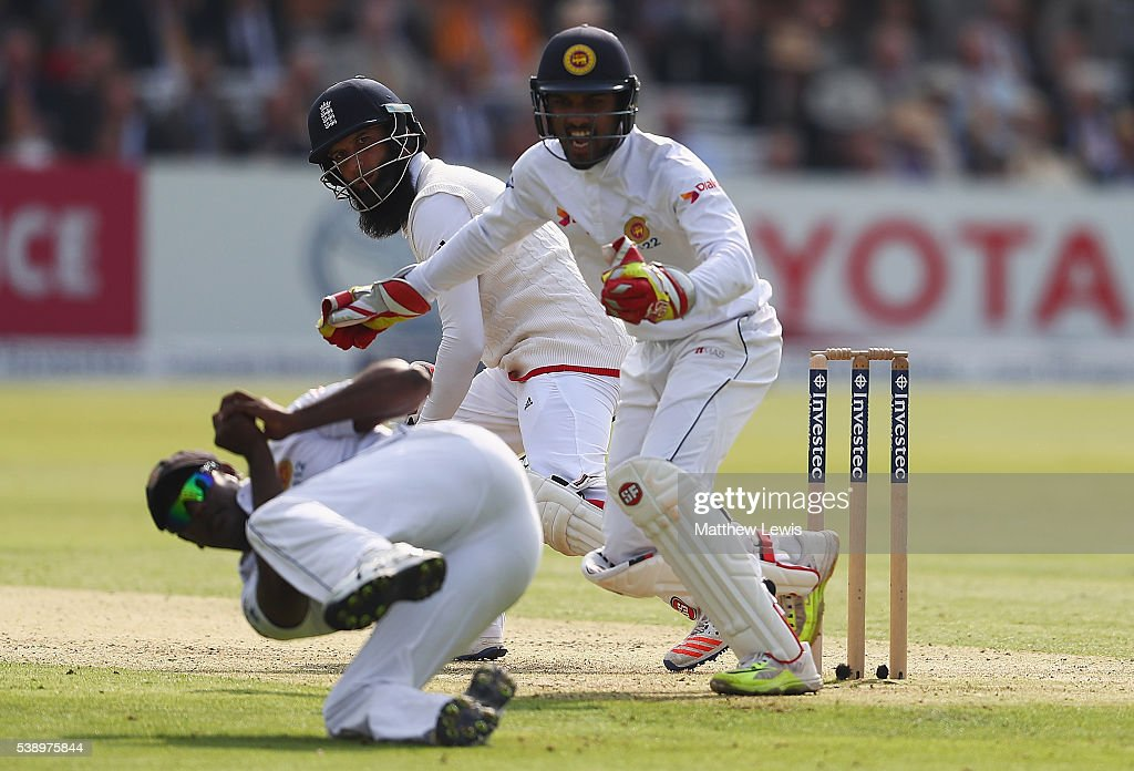 <a gi-track='captionPersonalityLinkClicked' href=/galleries/search?phrase=Moeen+Ali&family=editorial&specificpeople=571813 ng-click='$event.stopPropagation()'>Moeen Ali</a> of England looks on, after he is caught by <a gi-track='captionPersonalityLinkClicked' href=/galleries/search?phrase=Angelo+Mathews&family=editorial&specificpeople=5622021 ng-click='$event.stopPropagation()'>Angelo Mathews</a> of Sri Lanka during day one of the 3rd Investec Test match between England and Sri Lanka at Lord's Cricket Ground on June 9, 2016 in London, United Kingdom.