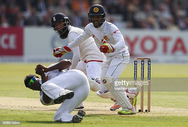 Moeen Ali of England looks on after he is caught by Angelo Mathews of Sri Lanka during day one of the 3rd Investec Test match between England and Sri...