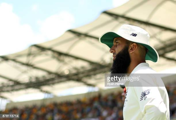 Moeen Ali of England looks on during day two of the First Test Match of the 2017/18 Ashes Series between Australia and England at The Gabba on...