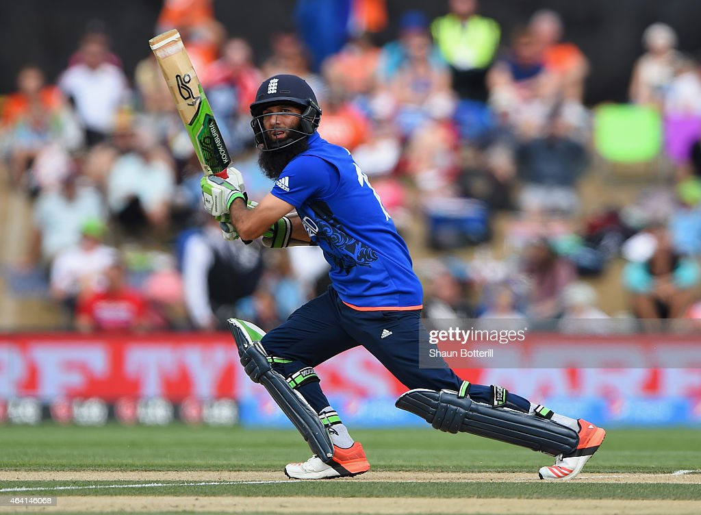 Moeen Ali of England plays a shot during the 2015 ICC Cricket World Cup match between England and Scotland at Hagley Oval on February 23 2015 in...