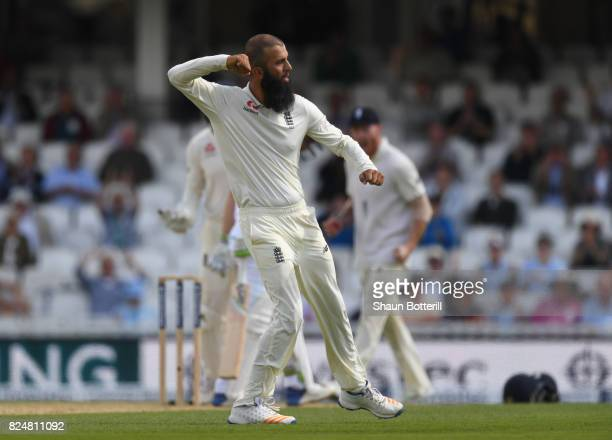 Moeen Ali of England takes the wicket of Dean Elgar of South Africa during day five of the 3rd Investec Test match between England and South Africa...
