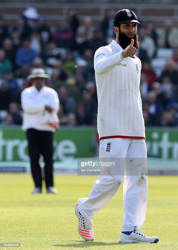 Moeen Ali of England thanks the crowd or their support during day two of the 2nd Investec Test match between England and Sri Lanka at Emirates Durham ICG on May 28, 2016 in Chester-le-Street, United Kingdom.