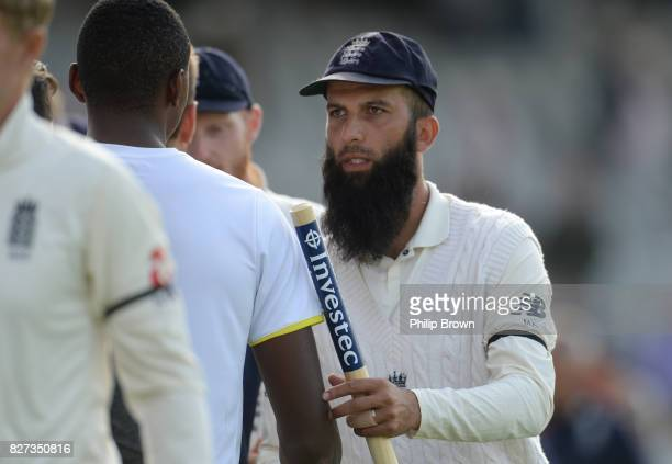 Moeen Ali of England with Kagiso Rabada of South Africa after England won the 4th Investec Test match between England and South Africa at Old...