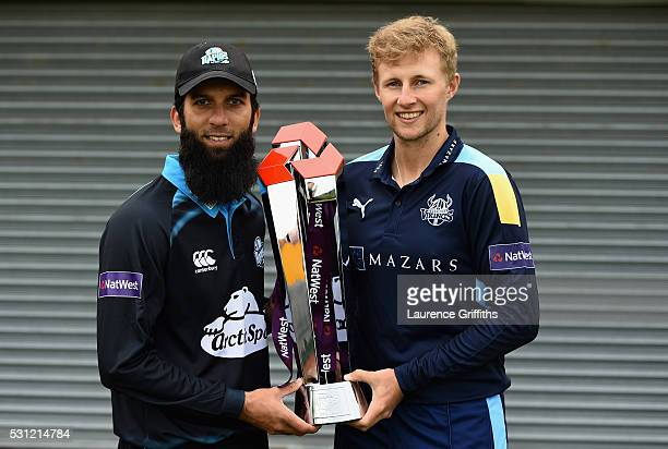 Moeen Ali of Worcestershire and Joe Root of Yorkshire pose with the trophy during the NatWest T20 Blast Media Launch at Loughborough University on...