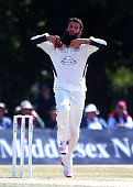 Moeen Ali of Worcestershire bowls during day three of the LV County Championship match between Middlesex and Worcestershire at Uxbridge Sports Club...