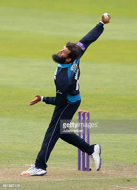 Moeen Ali of Worcestershire bowls during the Royal London OneDay Cup Quarter Final between Somerset and Worcestershire at The Cooper Associates...