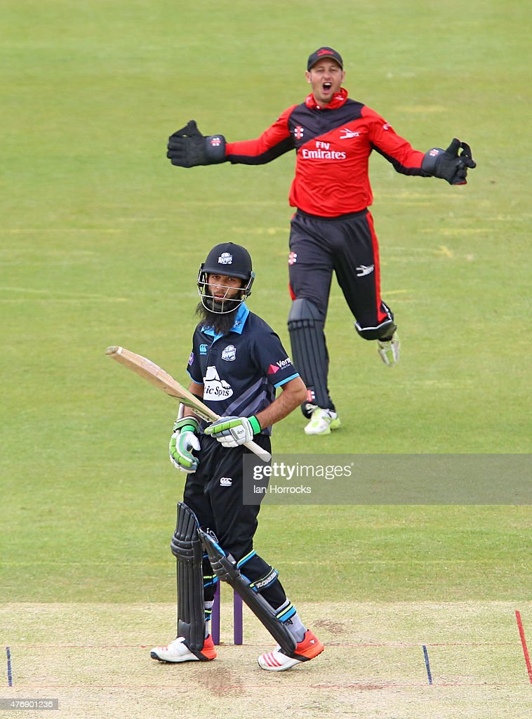 Moeen Ali of Worcestershire gets the decision of the umpire as Durham wicketkeeper Phil Mustard appeals during the NatWest T20 Blast match between...
