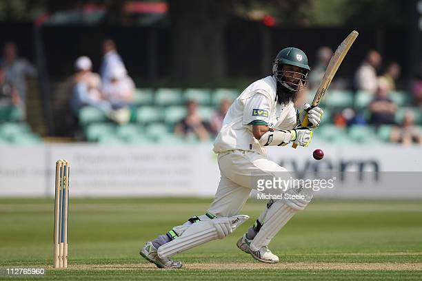 Moeen Ali of Worcestershire plays a shot to the legside during the LV County Championship match between Worcestershire and Warwickshire at New Road...