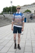 Moel and accessories designer Valentin Glimarec wears boots from a London boutique Uniqlo shorts Anthony Hor sweater a shirt he made himself vintage...