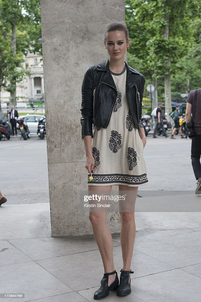Moel Jac Jagaciak wears Isobel Marrant dress, J brand jacket and Jonak shoes on day 2 of Paris Collections: Womens Haute Couture on July 02, 2013 in Paris, France.