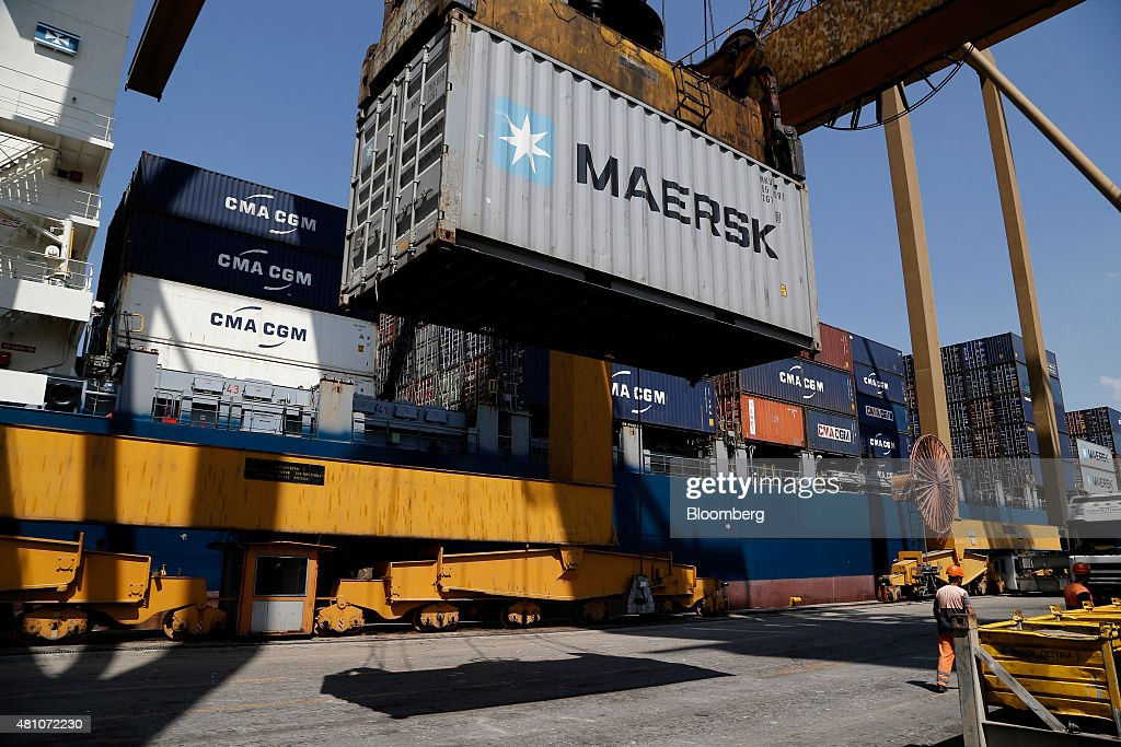 A AP MoellerMaersk A/S shipping container as it is loaded onto cargo vessel Santa Bettina operated by Reederei ClausPeter Offen GmbH at Thessaloniki...