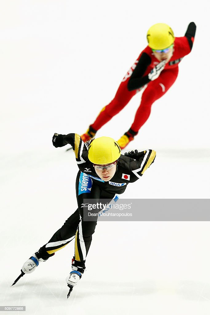 <a gi-track='captionPersonalityLinkClicked' href=/galleries/search?phrase=Moemi+Kikuchi&family=editorial&specificpeople=12024705 ng-click='$event.stopPropagation()'>Moemi Kikuchi</a> of Japan competes in the womens 500m Heat during ISU Short Track Speed Skating World Cup held at The Sportboulevard on February 12, 2016 in Dordrecht, Netherlands.