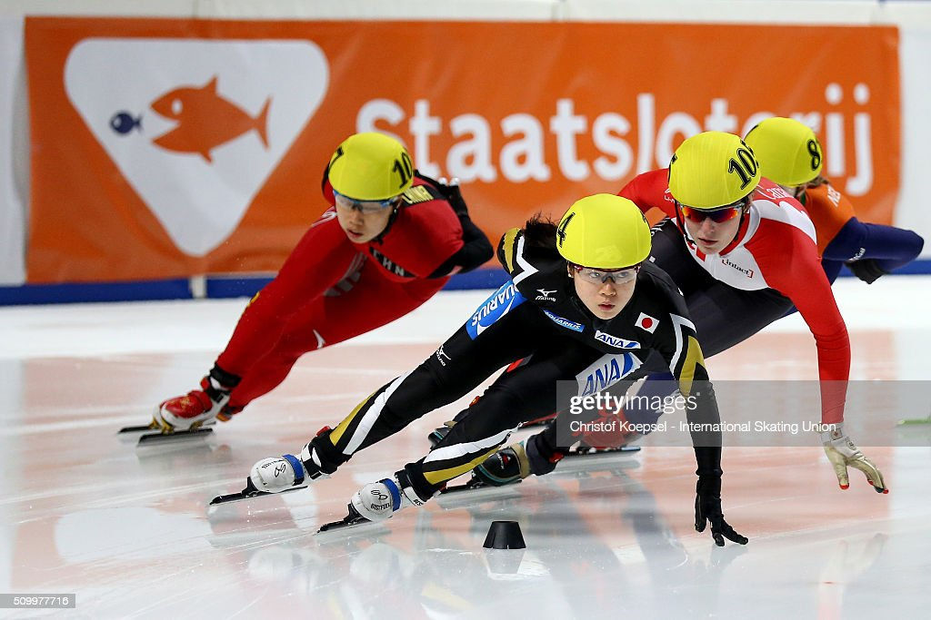 <a gi-track='captionPersonalityLinkClicked' href=/galleries/search?phrase=Moemi+Kikuchi&family=editorial&specificpeople=12024705 ng-click='$event.stopPropagation()'>Moemi Kikuchi</a> of Japan skates during the ladies 1500m final A during Day 2 of ISU Short Track World Cup at Sportboulevard on February 13, 2016 in Dordrecht, Netherlands.